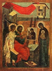 Ап.Лука пишет икону Богородицы.(Псков - VIв)